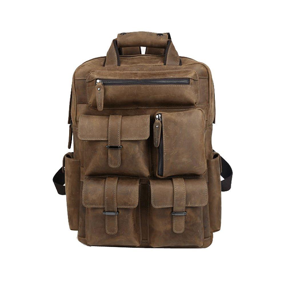 Paonies Men Leather Vintage Knapsack Casual School Hiking Travel Shoulder Bag for 15.6'' Laptop PC