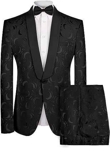 Mens 2-Piece Suit Notched Lapel Floral One Button Modern Blazer Pants Sets