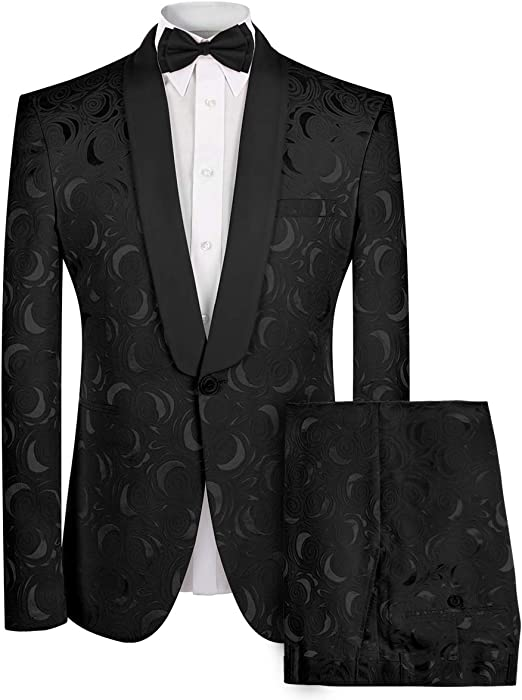 Mens 2 Piece Suit Floral Dress Suit Slim Fit Shawl Collar Wedding Party Blazer Pants Sets