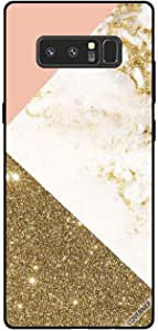 Cover For Samsung Galaxy Note8 - Golden Glitter & Matble Pattern