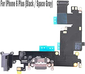 """UTechZH USB Charging Port Headphone Jack Dock Connector W/Mic Flex Cable Cellular Antenna Replacement Part Compatible for iPhone 6 Plus 5.5"""" All Carriers (Black)"""