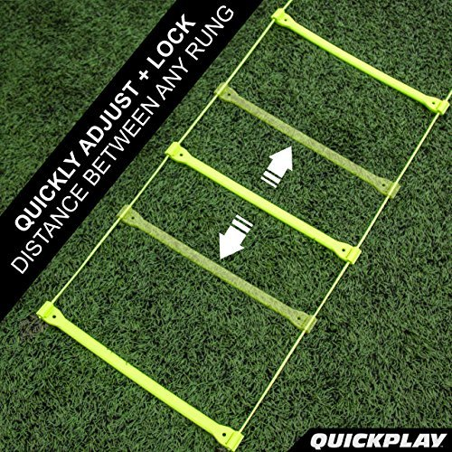 QuickPlay PRO No Tangle Agility Ladder with Quick Lock Adjustable Flat Rungs + Carry Bag (11-Rung) Multi-Sport Speed Ladder/Training Ladder