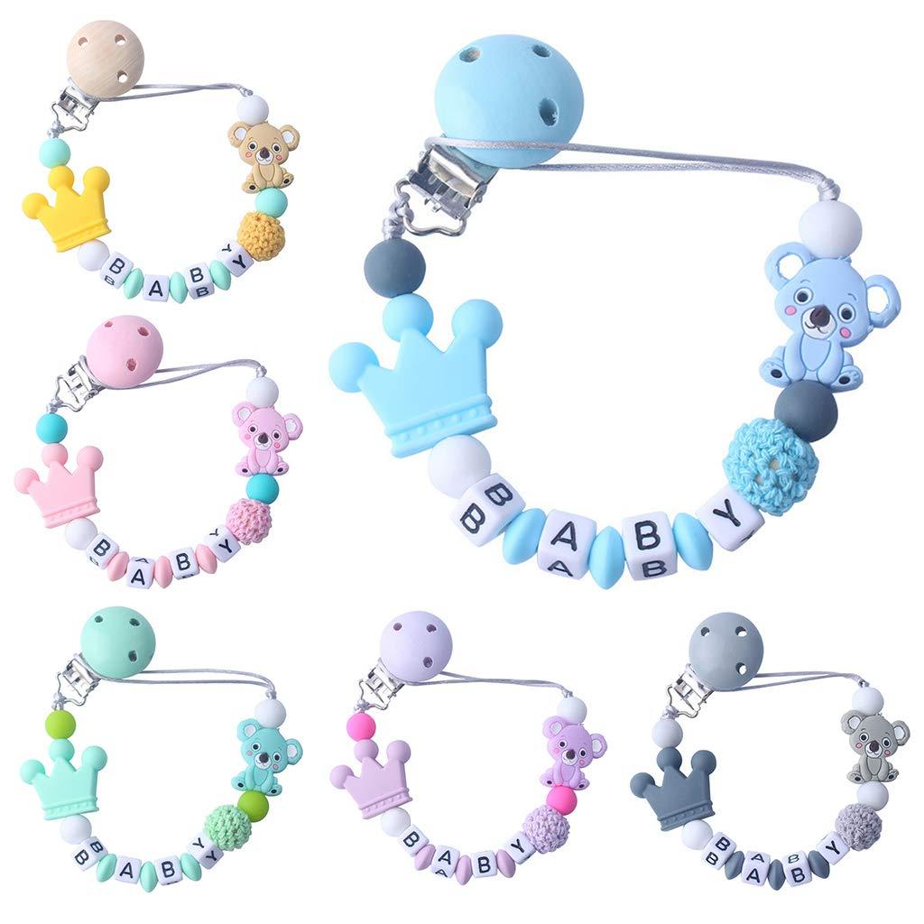 Kind Baby Schnuller Kette Beruhigende Jungen M/ädchen Cute Koala B/är Bunte Design Kinder Spielzeug