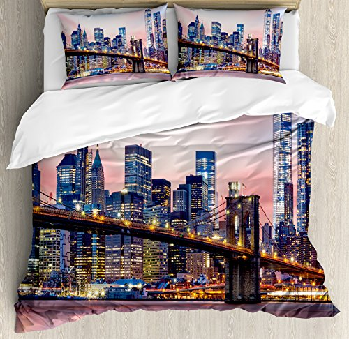 Manhattan Duvet Polyester Cover - Ambesonne New York Duvet Cover Set, Brooklyn Bridge and Lower Manhattan Skyline Under Pink Sunrise Long Exposure Theme Art Image, A Decorative 3 Piece Bedding Set with Pillow Shams, Queen/Full, Blue