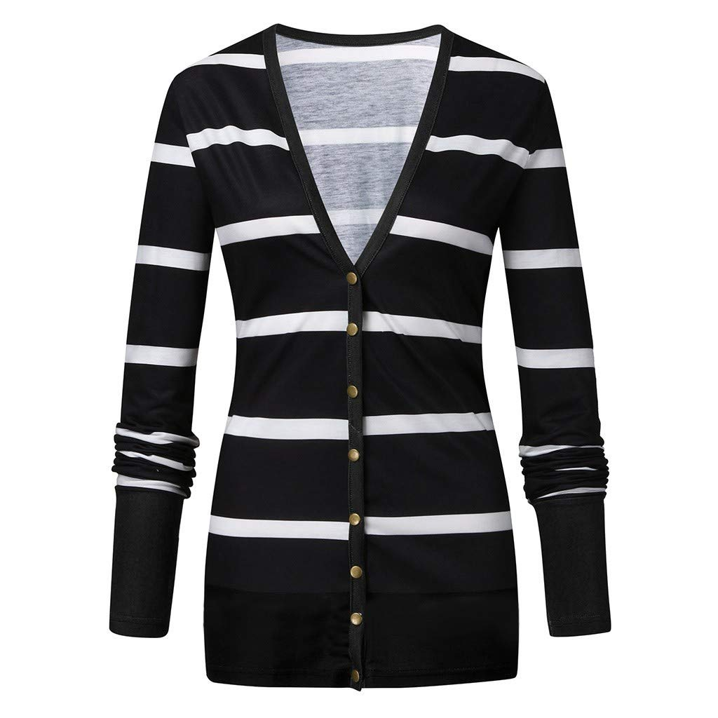 GREFER-Women Fall Long Sleeve Striped Button Down Tops Coats Casual Loose Lightweight Open Front Cardigans