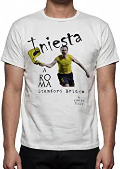 Palalula Hombre F.C. Barcelona Andres Iniesta Goal Stamford Bridge Champions League Camiseta XXXL White: Amazon.es: Ropa y accesorios