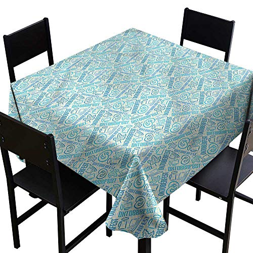 haommhome Wrinkle Resistant Tablecloth Oktoberfest German Festival Theme Excellent Durability W36 xL36 for Kitchen Dinning Tabletop Decoration ()