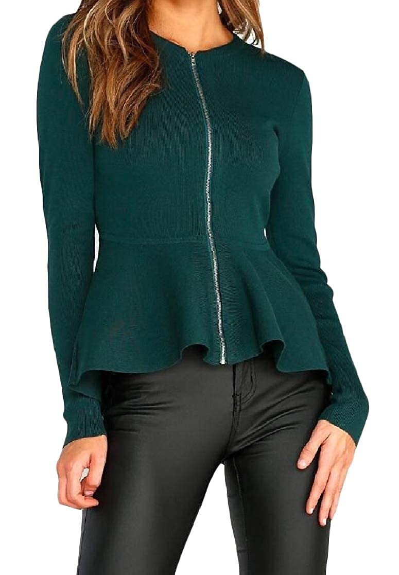 YUNY Women Zip Solid Long-Sleeve Fitted Fashion Crewneck Outwear Jacket Green M