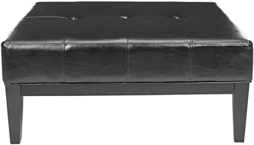 Safavieh Hudson Collection Bleecker Black Leather Cocktail Ottoman