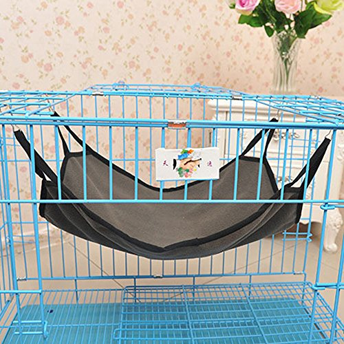 Dual-use Pet Polar Fleece Hammock Breathable Pet Cage Hammock with 4 Metal (Chinchillas Ferrets Guinea Pigs)