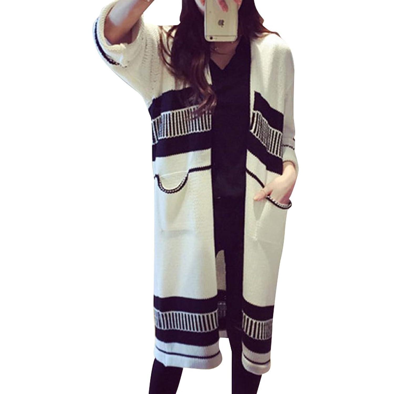 Krralinlin Womens Winter Long Sleeved Knitted Cardigan Sweater(Black,White)