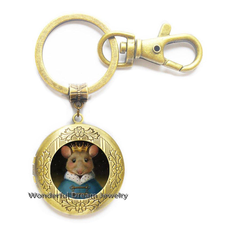 Llavero con medallón de ratón, llavero con medallón de rata ...
