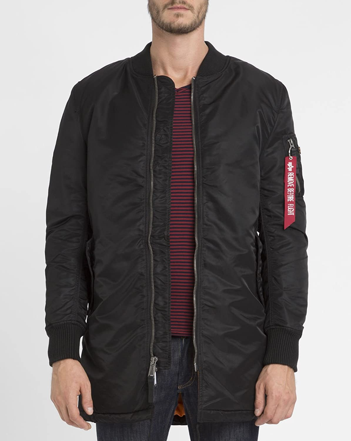 ALPHA INDUSTRIES - Jackets - Men - Black MA-1 Long Bomber Jacket for men