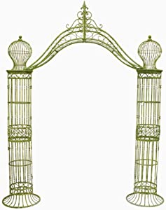 Garden-Trellis Arch 9' Tall - Wrought Iron - Antique Mint Green Finish