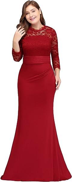 Misshow Abendkleider Elegant Fur Hochzeit Lang Hochzeitskleid Grosse Grossen Weinrot Amazon De Bekleidung