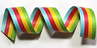 "product image for 100% Biodegradable Natural Ribbon | Prints & Stripes | Ribbon for Crafts | Cotton Curling Ribbon | Holiday Ribbon | Wrapping Ribbon | Eco-Friendly Ribbon (Bright Stripe, 1/2"" x 100 Yards)"