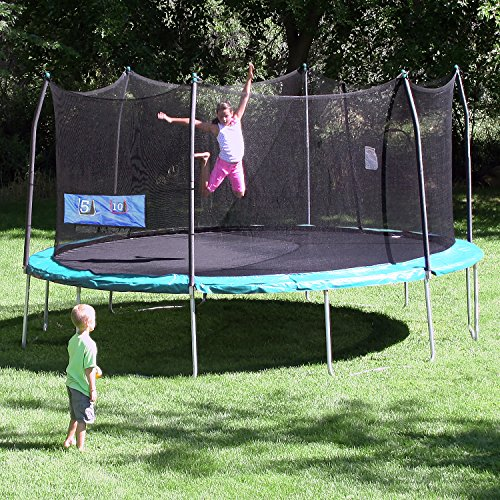 Skywalker Trampolines Oval Trampoline with Enclosure and Double Toss Game, Green, 16' by Skywalker Trampolines (Image #2)