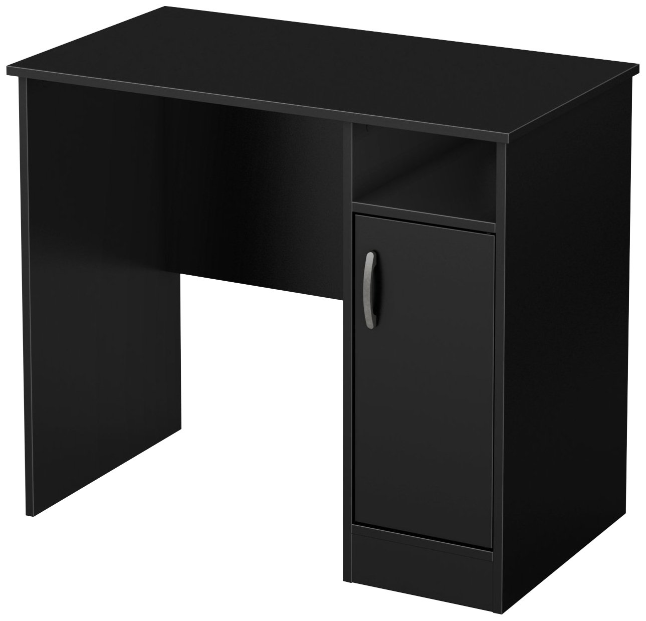 South Shore Small Computer Desk with Door, Pure Black