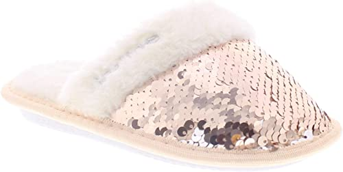 Kids Sequin Slippers for Girls,Faux Fur