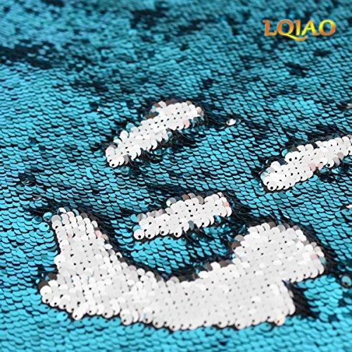 5 Paillettes Tessuto 0 Flip Tessuto Turchese Reversibili Vestito Vie Nuovo Tratto Up Paillettes Decorazione Lqiao Da D'argento Due Del Colore A Yard Sirena Sera Per Migliore La TXatqn6x