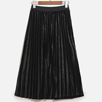 CHANGQUN TT&FUSHI Falda Plisada de Terciopelo de Mujer en la Falda ...