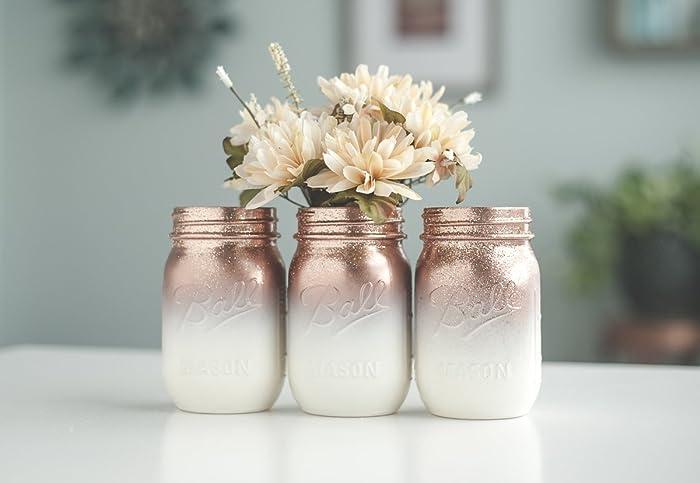 Amazon Ombre Rose Gold Mason Jar Vases For Wedding Centerpieces