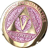 5 Year Elegant Glitter Pink Gold Silver Bi-Plated AA Medallion Chip V