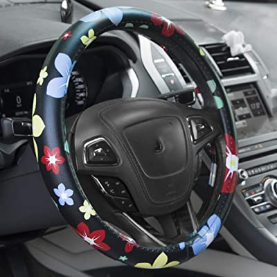 Dotesy PU Leather Auto Car Steering Wheel Cover Floral Anti-Slip Wheel Protector for Women,Lady,Universal 15 inch Non-Toxic: Automotive