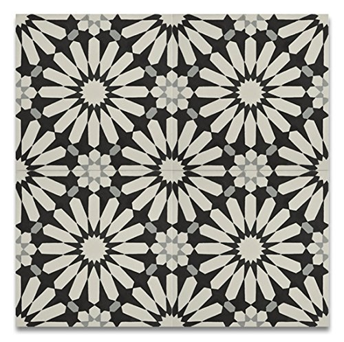 Moroccan Mosaic & Tile House CTP54-01 Alhambra 8''x8'' Handmade Cement Tile in Multicolor(Pack of 12), (Handmade Tile)