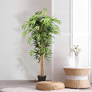 BestComfort Artificial Bamboo Trees, 5ft Artificial Greenery Plants in Pots for Home Decor, Fake Decorative Trees for Living Room Indoor Use