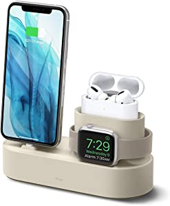 elago 3 in 1 Charging Station for Apple Products, Designed for Apple AirPods Pro, iPhone 11 Pro Max/11 Pro, All Apple Watch Series [Original Cables Required-NOT Included] (Classic White)