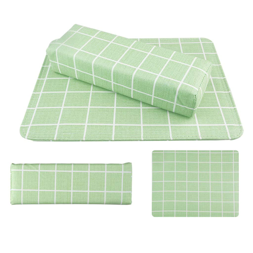 Macaron Checked and Striped Hand Cushion Table with Square Nail Cushion Green