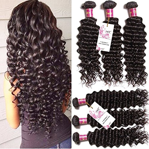 Unice Hair 3 Bundles Brazilian Virgin Hair Deep Wave Hair Extensions 7a Grade Unprocessed Human Hair Wave Natural Color Can Be Dyed and Bleached (12 14 16) Deep Wave Hair