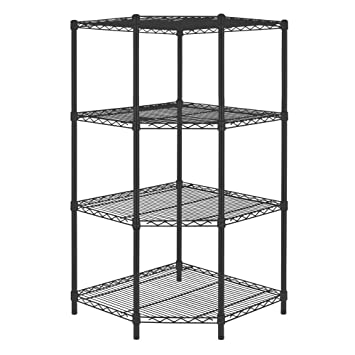 4shelf steel corner shelving unit in black
