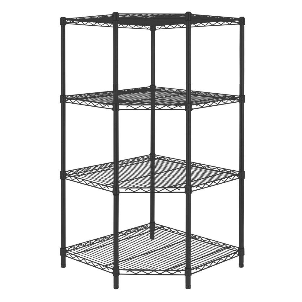4-Shelf Steel Corner Shelving Unit in Black