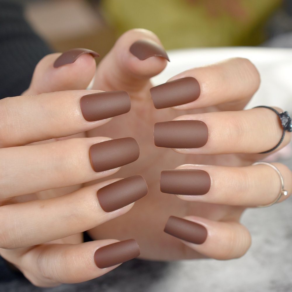 CoolNail Matte Coffee Brown Square Head False Nails Middle-long Full Cover Chocolate Fake Nail