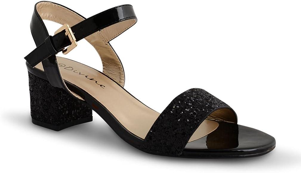 Womens Mid Block Heel Open Toe Ankle