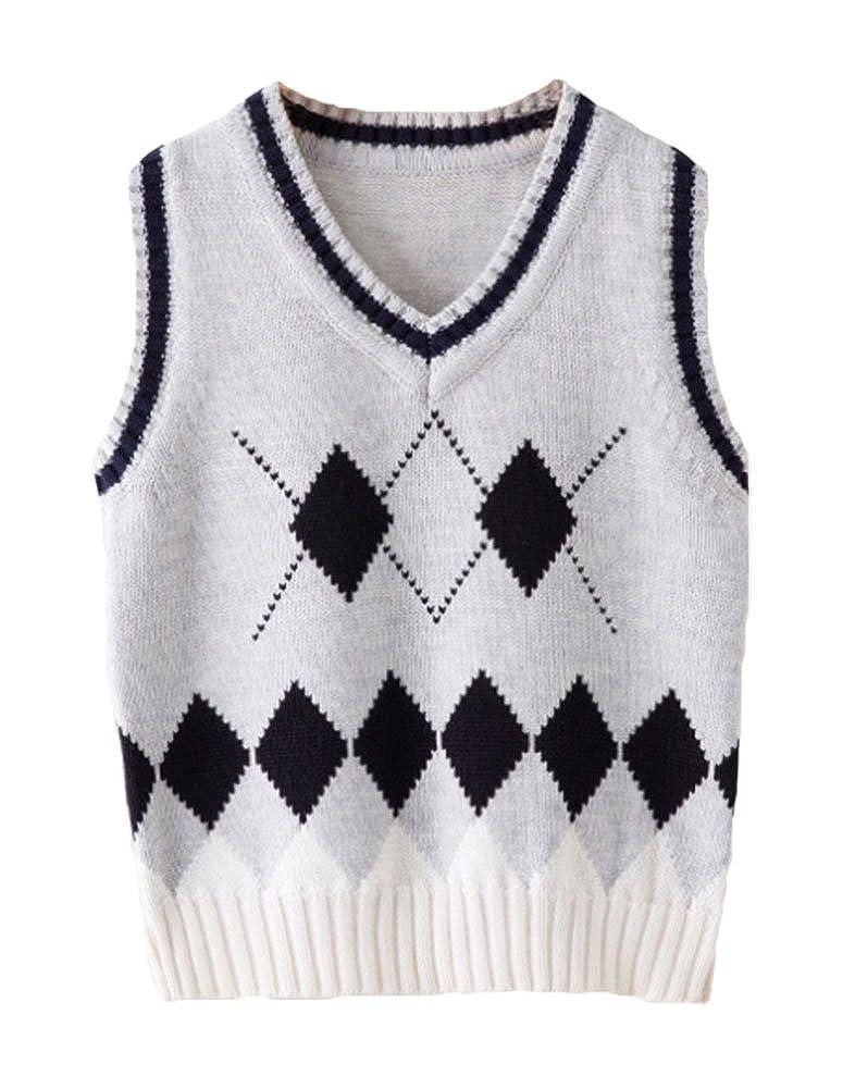 ezShe Boys Kinted V Neck Rhombus Pullover Sleeveless School Sweater Vest