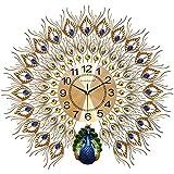【品名】:孔雀挂钟客厅欧式钟表创意时钟家用装饰挂表壁钟静音电子钟石英钟 (Size : A)