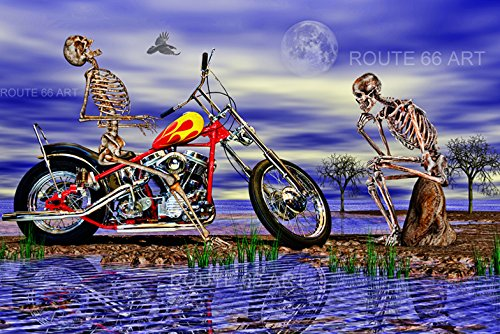 Harley Davidson Panhead Chopper Motorcycle Surreal Skeleton Art Print (Choppers Skeleton)