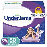 Pampers UnderJams Disposable Bedtime Underwear for Girls, Size S/M, 50 Count, Super...