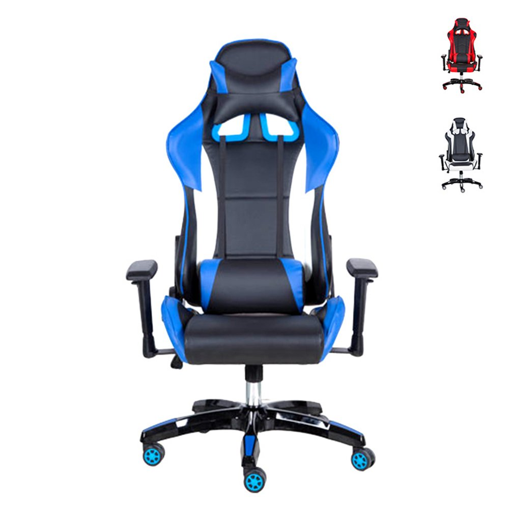 Gaming Chair, High Back Gaming Racing Chairs, PC Computer Game Chairs Sport Swivel Office Recliner Chair by Gshopper® Blue