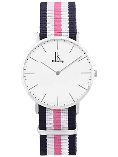 Alienwork Quarz Armbanduhr Zeitloses Design Uhr Damen Uhren Herren Ultra-flach Nylon silber blau U04...