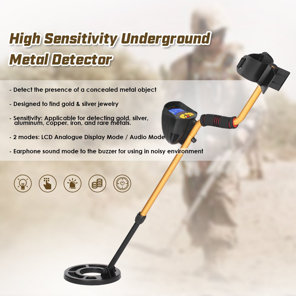 KKmoon MD3010II Metal Detector Alto Sensibilidad Alto Actuación Subterráneo Oro Cavador Tesoro Cazador Metal Descubridor Tesoros Buscando ...