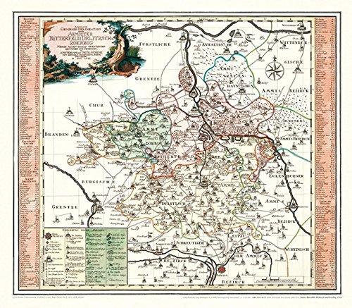 Historische Karte: Ämter Bitterfeld, Delitzsch und Zoerbig, 1758 (Plano)