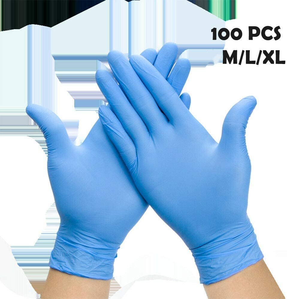 Enjoyee 100 Pcs Disposable Gloves PVC Free Rubber Latex Free Exam Gloves Non Sterile Ambidextrous Comfortable Industrial Blue Rubber Gloves-XL