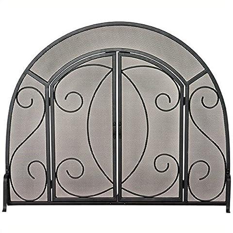 Single Panel Fireplace Screen w Doors & Ornate (Ottone Gas Logs)