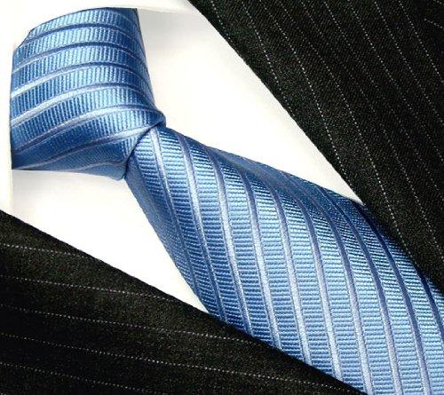 LORENZO CANA - Luxury Italian 100% Silk Tie Jacquard Lightblue Stripes - 84211 by LORENZO CANA (Image #1)