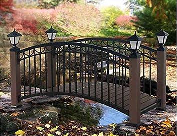 6 Foot Metal Garden Bridge With Solar Lights