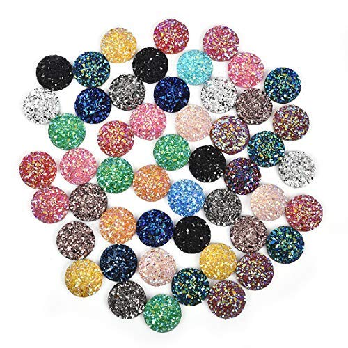 (Mix Color 12mm Round Flat Back Resin Cabochon Cameo Faux Druzy Cabochons Mermaid Deco Jewelry Making 100Pcs)